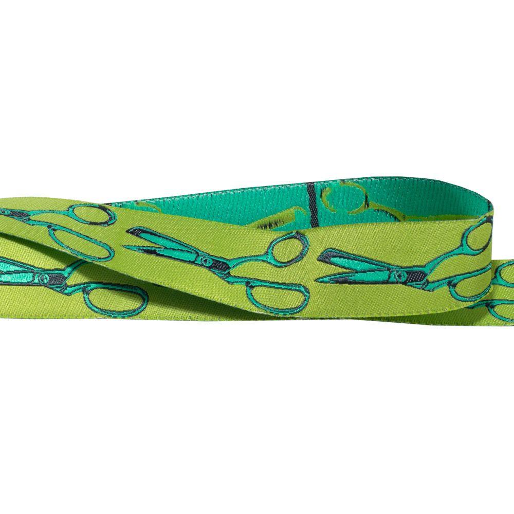 Webband Grün mit türkis-grünen Scheren