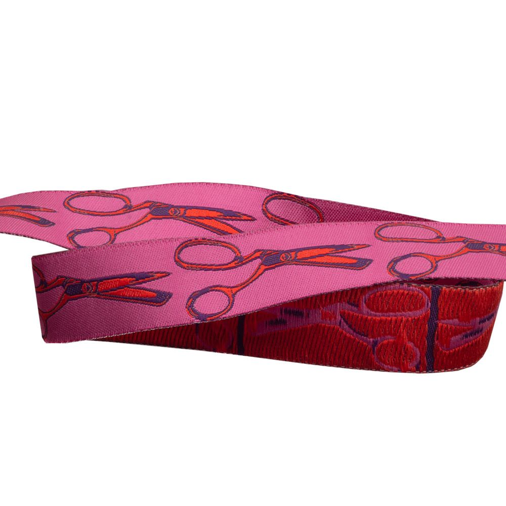 Webband Pink mit Schere Rot