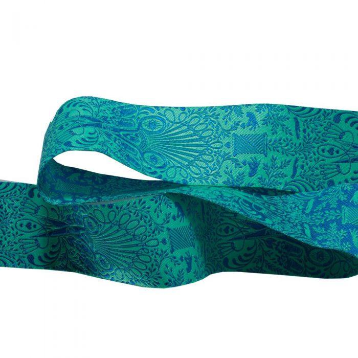 Webband in Türkis mit Motiv Schere in Blau
